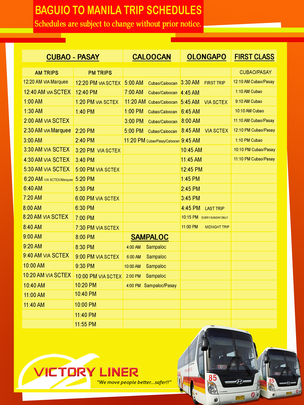 South Bound (From Baguio) Victory Liner Deluxe Bus Schedule