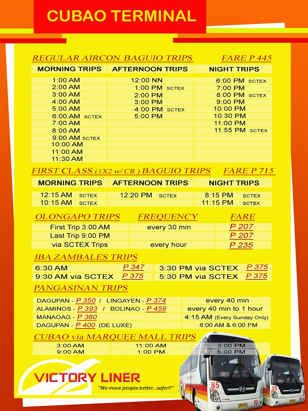 Cubao - Victory Liner Deluxe Bus Schedule
