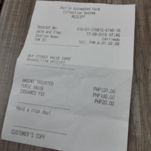 LRT Beep card receipt