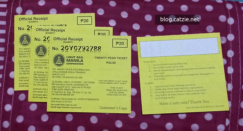 LRT-1 paper ticket coupon