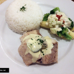 Steamed fish with cucumber sauce, vegetable with cream sauce