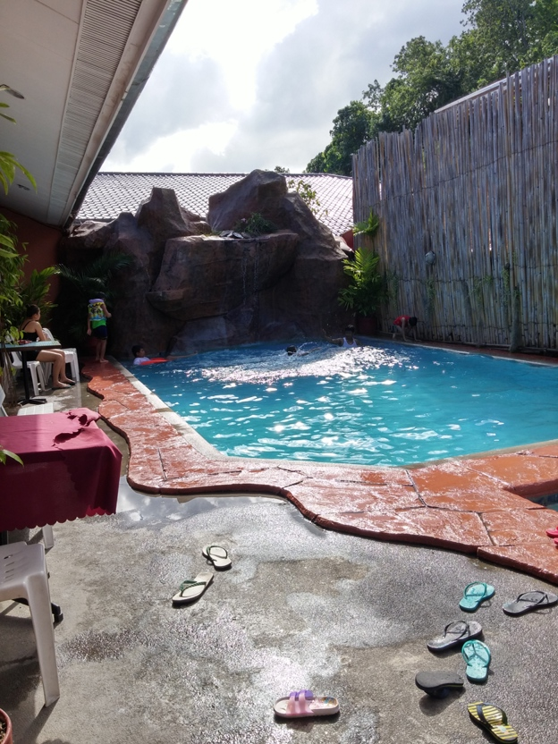 pool in front of lava restaurant (Rockpoint Hotspring Resort Hotel review)