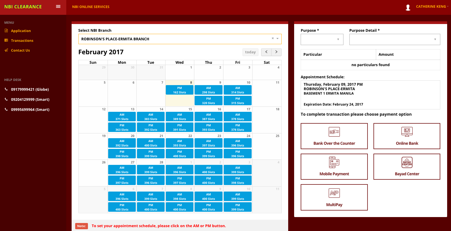 Appointment schedule calendar at nbi-clearance.com
